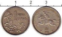 Изображение Монеты Литва 1 лит 1925 Серебро XF Рыцарь