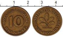 Изображение Монеты ФРГ 10 пфеннигов 1950 Латунь XF F