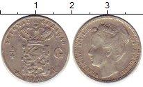 Изображение Монеты Кюрасао 1/4 гульдена 1900 Серебро VF Нидерландская колони
