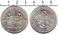Изображение Монеты Суринам 10 гульденов 1976 Серебро UNC- Независимость,флаг