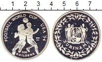 Изображение Монеты Суринам 100 гульденов 1994 Серебро Proof- Чемпионат  мира  по