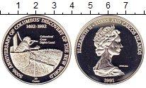 Изображение Монеты Теркc и Кайкос 20 крон 1991 Серебро Proof-