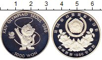 Изображение Монеты Южная Корея 5000 вон 1986 Серебро Proof-