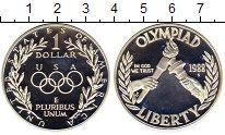 Изображение Монеты США 1 доллар 1988 Серебро Proof- Олимпиада,Огонь