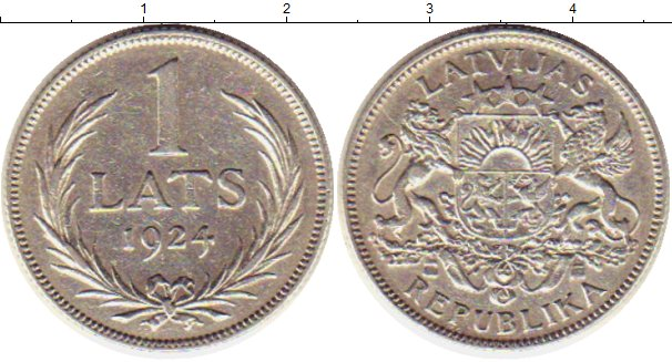 Монета 1 латс 1924 республика латвия продам значки олимпиада 80
