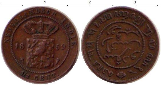 Картинка Монеты Нидерландская Индия 1/2 цента Бронза 1859
