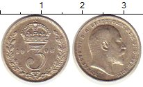 Изображение Монеты Великобритания 3 пенса 1908 Серебро XF Эдуард VII