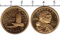 Изображение Монеты США 1 доллар 2003 Латунь Proof- S. Сакагавея