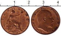 Изображение Монеты Великобритания 1 фартинг 1902 Бронза XF- Эдуард VII