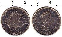 Изображение Монеты Канада 25 центов 2002 Медно-никель UNC- 50 лет правления Ели