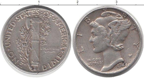 Картинка Монеты США 1 дайм Серебро 1944