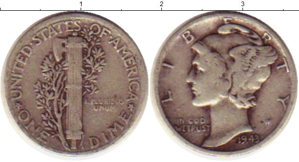 Картинка Монеты США 1 дайм Серебро 1943