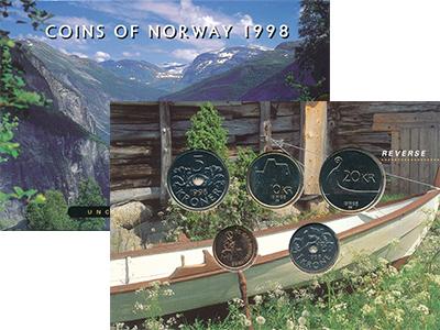 Изображение Подарочные монеты Норвегия Набор 1998 года 1998  UNC В набор входят пять