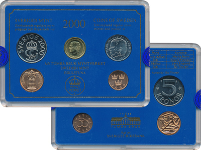 Изображение Подарочные монеты Швеция Набор 2000 года 2000  UNC В набор входят четыр