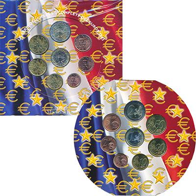 Изображение Подарочные монеты Франция Евронабор 2003 года 2003  UNC В набор входят восем