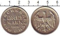 Изображение Монеты Веймарская республика 3 марки 1924 Серебро XF E