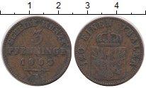 Изображение Монеты Пруссия 3 пфеннига 1863 Медь XF- А