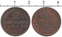Изображение Монеты Пруссия 2 пфеннига 1865 Медь XF