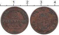 Изображение Монеты Пруссия 2 пфеннига 1852 Медь VF