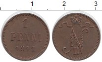 Изображение Монеты 1894 – 1917 Николай II 1 пенни 1911 Медь XF