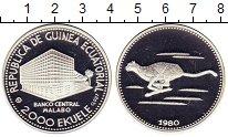 Изображение Монеты Экваториальная Гвинея 2.000 экуэль 1980 Серебро Proof- Гепард