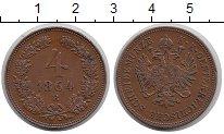 Изображение Монеты Австрия 4 крейцера 1864 Медь XF В