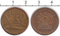 Изображение Мелочь ЮАР 50 центов 1990 Латунь XF