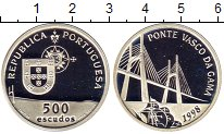 Изображение Монеты Португалия 500 эскудо 1998 Серебро Proof Мост Васко да Гама,к