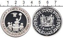 Изображение Монеты Суринам 100 гульденов 1992 Серебро Proof- Олимпиада,баскетбол