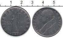 Изображение Монеты Ватикан 100 лир 1955 Сталь UNC- Вера,Женщина с чашей