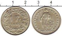 Изображение Монеты Швейцария 1 франк 1962 Серебро XF Женщина со щитом