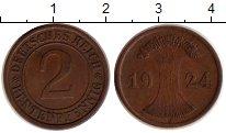 Изображение Монеты Веймарская республика 2 пфеннига 1924 Бронза XF J