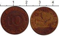 Изображение Монеты ФРГ 10 пфеннигов 1949 Латунь XF-