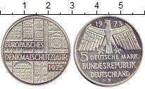 Изображение Монеты ФРГ 5 марок 1975 Серебро UNC- Европейский Год охра
