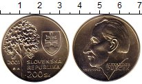 Изображение Монеты Словакия 200 крон 2001 Серебро UNC 80 - летие  Александ