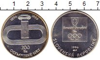 Изображение Монеты Словакия 200 крон 1996 Серебро UNC- 100 - летие  Олимпий