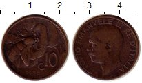 Изображение Монеты Италия 10 сентесим 1930 Бронза XF- Виктор Эммануил III,