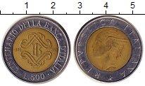 Изображение Монеты Италия 500 лир 1993 Биметалл XF 100-летие Банка Итал