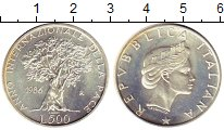 Изображение Монеты Италия 500 лир 1986 Серебро UNC- Международный год ми