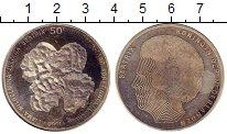 Монета Нидерланды 50 гульденов Серебро 1990 UNC-