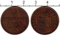 Изображение Монеты Вальдек-Пирмонт 3 пфеннига 1867 Медь XF