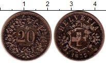 Изображение Монеты Швейцария 20 рапп 1858 Серебро XF-