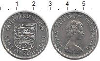 Изображение Монеты Остров Джерси 10 пенсов 1980 Медно-никель UNC- Герб,львы
