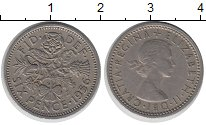 Изображение Монеты Великобритания 6 пенсов 1956 Медно-никель XF Елизавета II