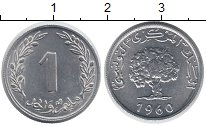 Изображение Монеты Тунис 1 сантим 1960 Алюминий UNC- Кедр