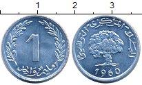 Изображение Монеты Тунис 1 миллим 1960 Алюминий UNC- Дерево