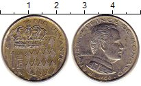 Изображение Монеты Монако 1 франк 1960 Медно-никель XF Принц Монако Ренье I