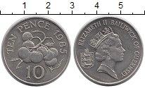 Изображение Монеты Гернси 10 пенсов 1985 Медно-никель XF Елизавета II. Флора
