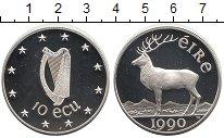 Изображение Монеты Ирландия 10 экю 1990 Серебро Proof Благородный  олень