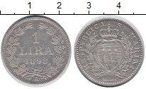 Изображение Монеты Сан-Марино 1 лира 1898 Серебро XF Герб Сан-Марино